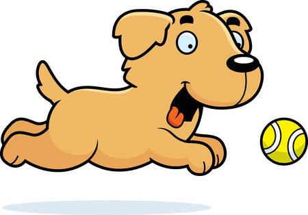 golden retriever puppy: A cartoon illustration of a Golden Retriever chasing a ball.