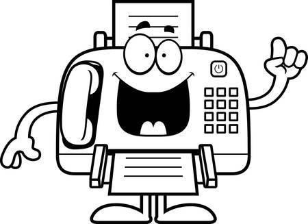 faxger�t: Eine Karikaturillustration ein Faxger�t mit einer Idee.