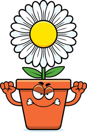 bloempot: A cartoon illustration of a flowerpot looking angry.