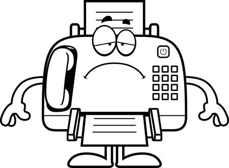 A cartoon illustration of a fax machine looking sad.