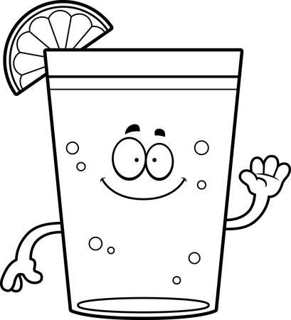 A cartoon illustration of a beer with lime waving. Ilustração