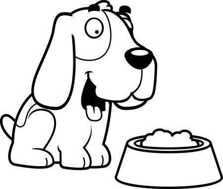 bloodhound: A cartoon illustration of a Basset Hound with a bowl of food.