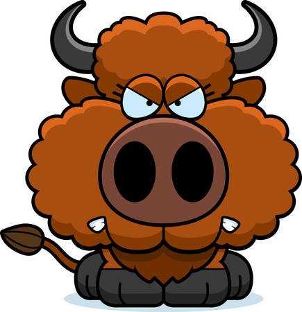 A cartoon illustration of a buffalo with an angry expression.