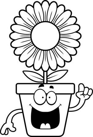 flowerpot: A cartoon illustration of a flowerpot with an idea.