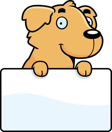 golden retriever puppy: A cartoon illustration of a Golden Retriever with a sign.