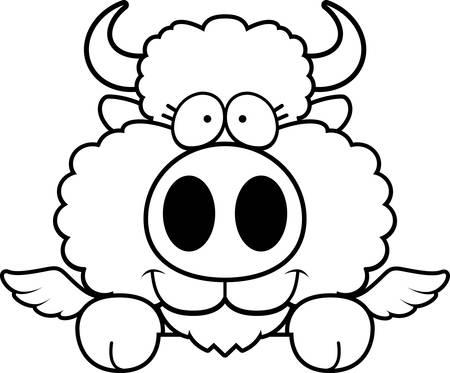 peering: A cartoon illustration of a winged buffalo peeking over an object. Illustration