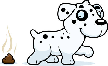 A cartoon illustration of a Dalmatian pooping.