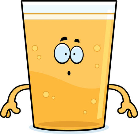A cartoon illustration of a glass of beer looking surprised.
