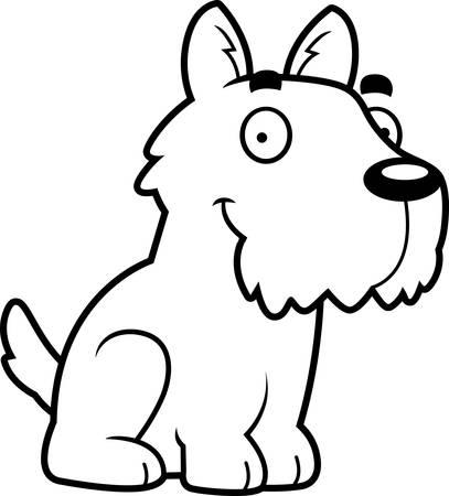 A cartoon illustration of a Scottie sitting. 向量圖像