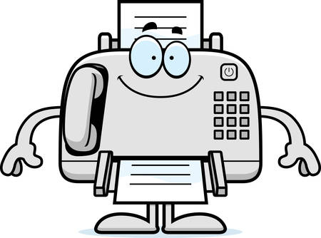 A cartoon illustration of a fax machine looking happy.