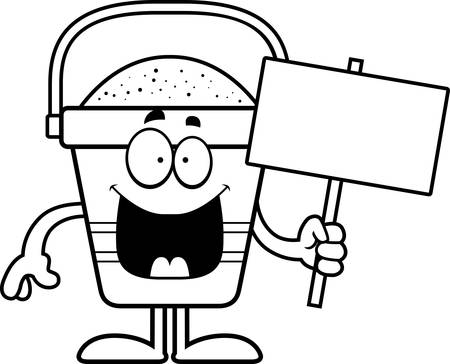 beach bucket: A cartoon illustration of a beach bucket holding a sign.