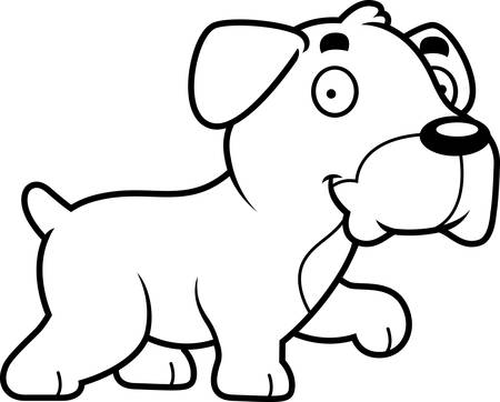 dog walking: A cartoon illustration of a Boxer dog walking. Illustration