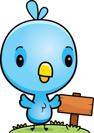 wooden post: A cartoon illustration of a baby blue bird with a wooden sign post. Illustration