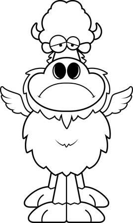 A cartoon illustration of a winged buffalo looking sad.