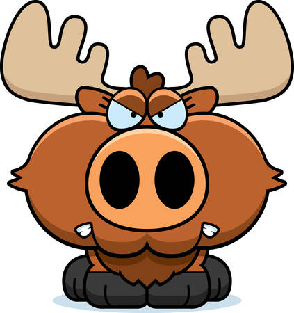 A cartoon illustration of a moose with an angry expression.