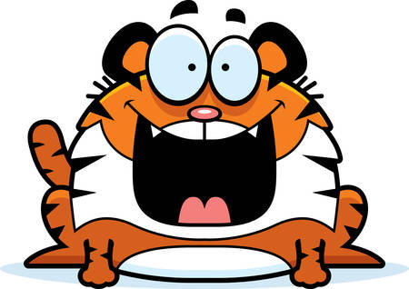 smilling: A cartoon illustration of a tiger looking happy.