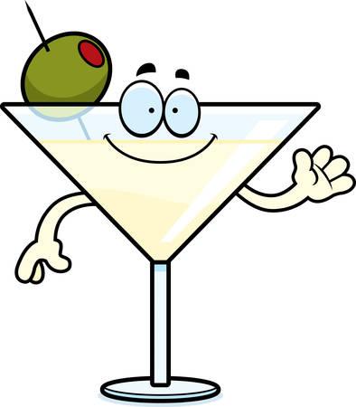 A cartoon illustration of a martini waving.