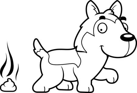A cartoon illustration of a Husky pooping.