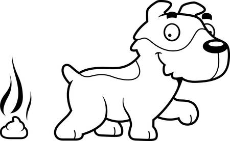 feces: A cartoon illustration of a Jack Russell Terrier pooping.