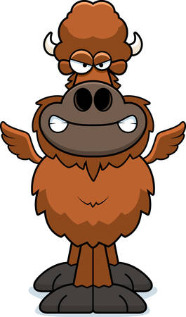 A cartoon illustration of a winged buffalo looking angry.