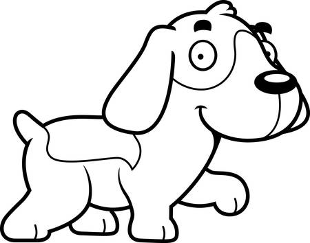 beagle puppy: A cartoon illustration of a Beagle walking.