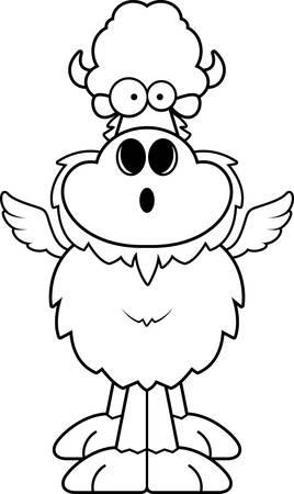 astonish: A cartoon illustration of a winged buffalo looking surprised.