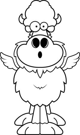 A cartoon illustration of a winged buffalo looking surprised.