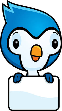 jay: A cartoon illustration of a baby blue jay with a blank sign. Illustration
