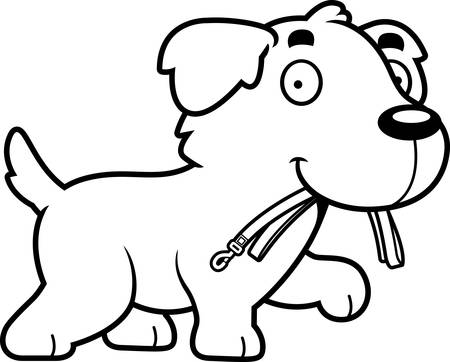 A cartoon illustration of a Golden Retriever walking with a leash in his mouth.