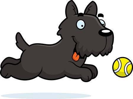 scottie: A cartoon illustration of a Scottie chasing a ball.
