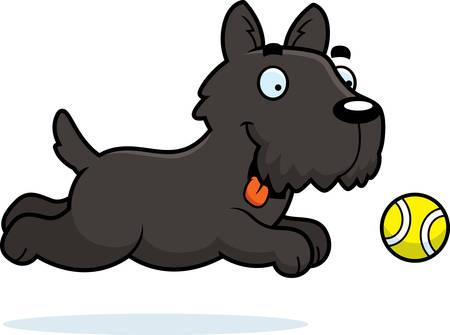 fetch: A cartoon illustration of a Scottie chasing a ball.