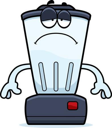 A cartoon illustration of a blender looking sad.