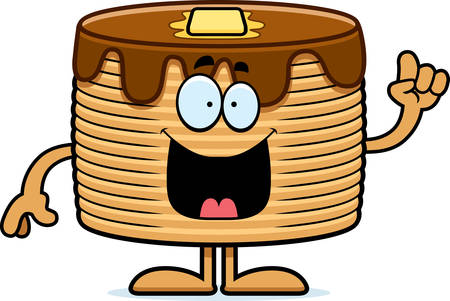 flapjacks: A cartoon illustration of a stack of pancakes with an idea.