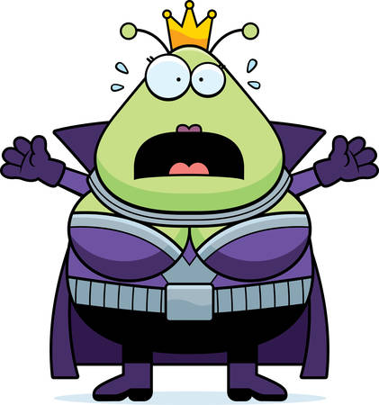 martian: A cartoon illustration of a Martian queen looking scared. Illustration
