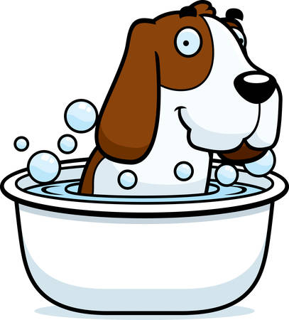 hound: A cartoon illustration of a Basset Hound taking a bath.