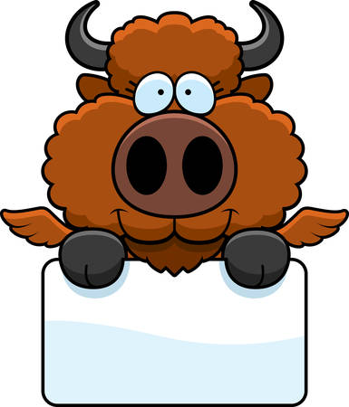 A cartoon illustration of a winged buffalo with a white sign.