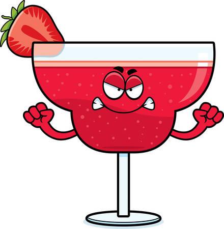 daiquiri: A cartoon illustration of a strawberry daiquiri looking angry.