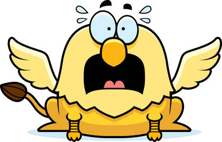 A cartoon illustration of a griffin looking scared.