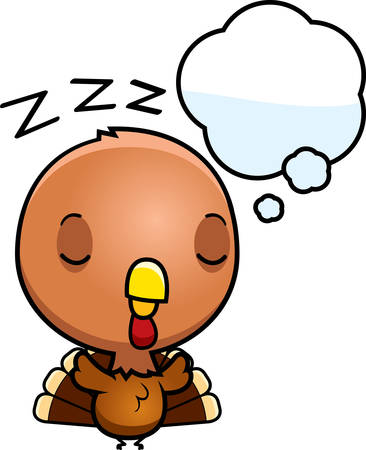 though: A cartoon illustration of a baby turkey dreaming.