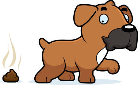 boxer dog: A cartoon illustration of a Boxer dog pooping.