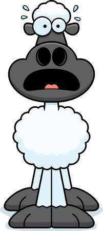 animal screaming: A cartoon illustration of a sheep looking scared. Illustration