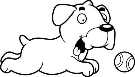 boxer dog: A cartoon illustration of a Boxer dog chasing a ball. Illustration
