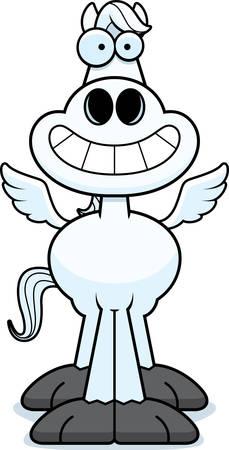 A cartoon illustration of Pegasus looking happy.