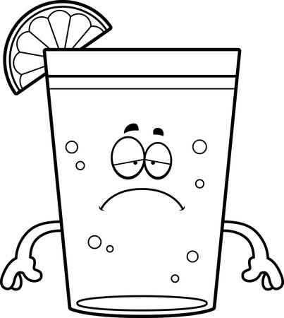 A cartoon illustration of a beer with lime looking sad. Ilustração