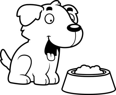 golden retriever puppy: A cartoon illustration of a Golden Retriever with a bowl of food.
