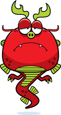 frowning: A cartoon illustration of a Chinese dragon looking sad.