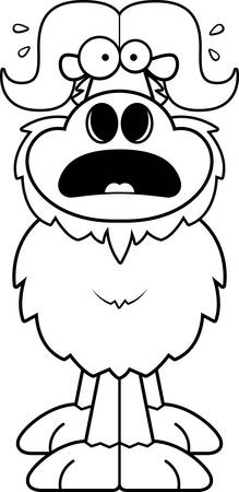 A cartoon illustration of an ox looking scared.