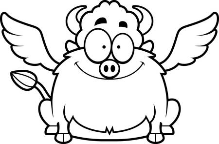 smirking: A cartoon illustration of a buffalo with wings smiling. Illustration