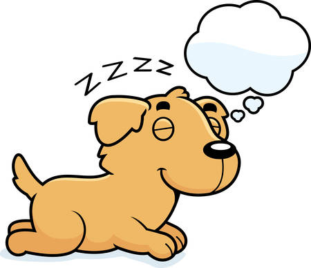 though: A cartoon illustration of a Golden Retriever sleeping and dreaming.