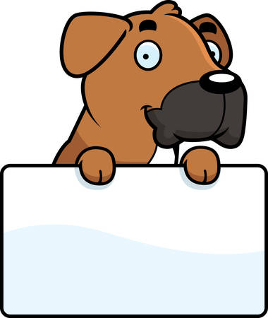 A cartoon illustration of a Boxer dog with a sign.